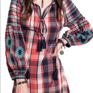 Ivy Jane Embroidered Aztec Plaid Dress Size Small